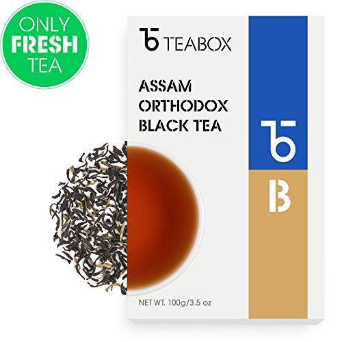 Teabox Assam Orthodox Black Tea | DENSE and STRONG | Golden Tipped Orthodox Black Tea | 3.5 Oz (Makes 60+ Cups)
