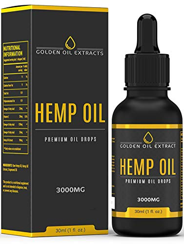 Golden Oil Extracts 30% High Strength Omega 3 Hemp Oil for Pain Relief | Anxiety | Sleep |Sciatica| Anti Inflammatory & Immune System Support 3000mg 30ml