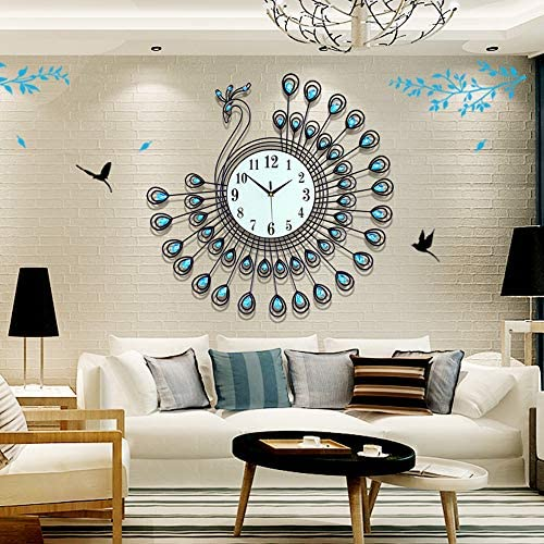 Fleble 25.6 inch Peacock Large Metal Wall Clock Silent,White Glass Dial with Arabic Numbers,Blue Diamonds Decorative Clock for Living Room,Bedroom,Office Space