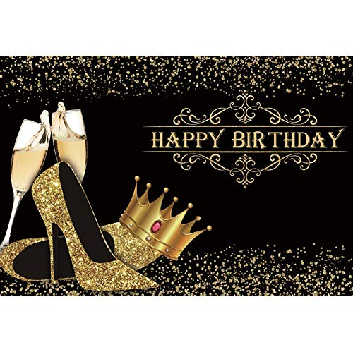DORCEV 7x5ft Happy Birthday Backdrop Lady Queen Theme Birthday Party Lady Birthday Prom Party Background Shiny Golden Crown High Heel Shoes Party Cake Table Banner Birthday Photo Studio Props
