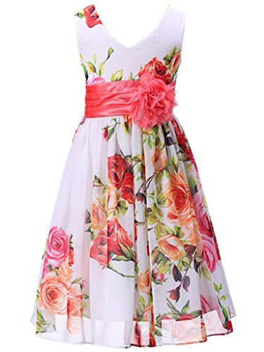 Bow Dream Flower Girl Dress Junior Bridesmaids V-Neckline Chiffon Flowers Coral 7 -