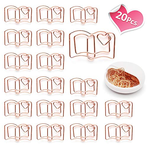 Lovely Heart Book Shape Small Paper Clips - Cute Paper Clips - Funny Bookmark Marking Clips for Office School Wedding Party Invitation Valentine Decoration - Planner Paperclips (20 pcs) (Book) (Heart Paperclip Bookmark)