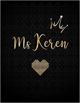 Ms Keren Personalized Black Xl Journal With Gold Lettering Girl