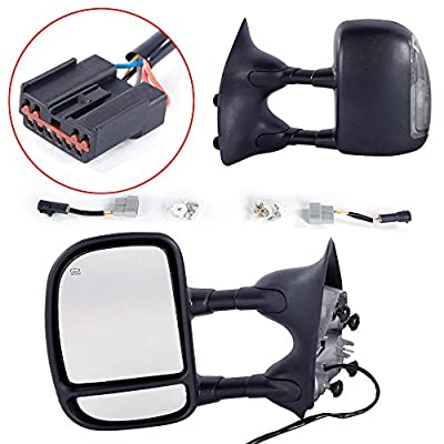 MOTOOS Towing Mirrors Power Heated Telescoping Tow Mirror with LED Signal Turn Light Fit For 1999-2007 Ford F250 F350 F450 F550 Super Duty Pair Set Side Mirrors: Automotive