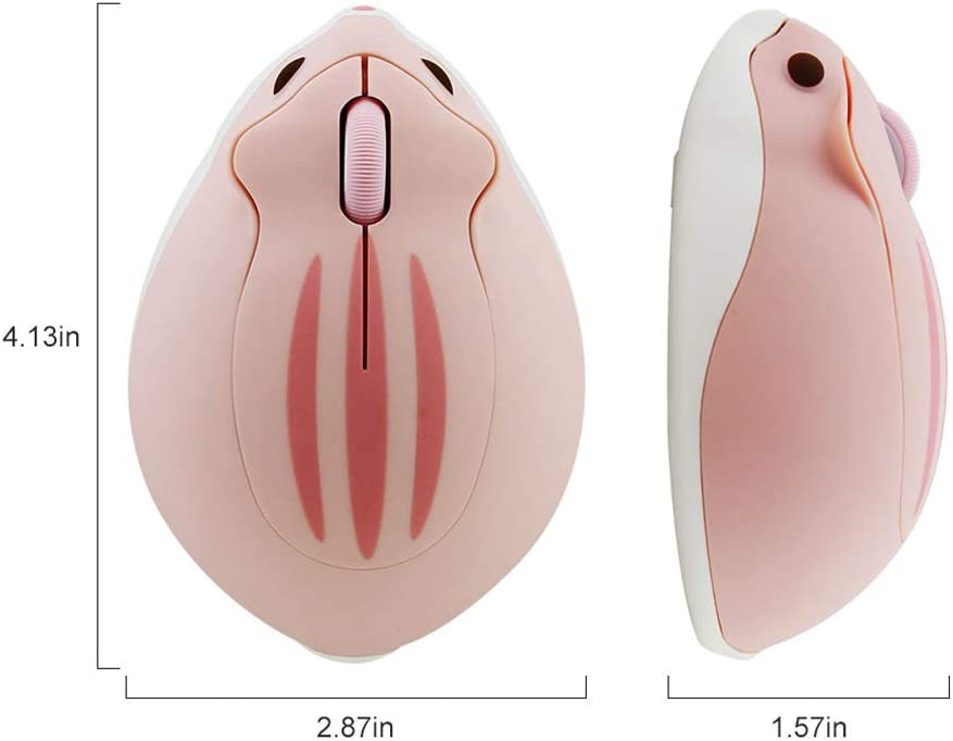 Blue 2.4GHz Wireless Mouse Cute Hamster Shape Less Noice Portable Mobile Optical 1200DPI USB Mice Cordless Mouse for PC Laptop Computer Notebook MacBook Kids Girl Gift