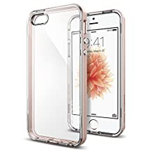 iPhone SE Case, Spigen Neo Hybrid Crystal - Flexible Inner Clear TPU / PC Frame Slim Dual Layer Case for Apple iPhone SE (2016) - Rose Gold