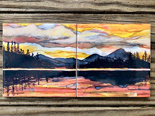 (Lake Sunset Ceramic Tile - Set of 2 - Indoor and Outdoor Use)