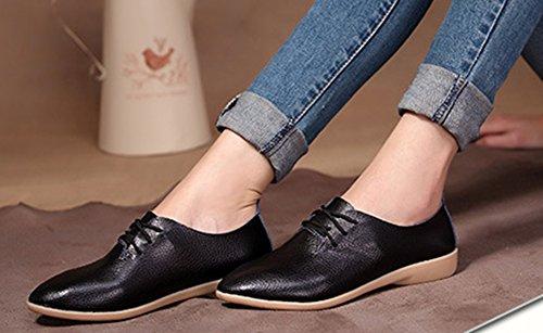 Mode Travail Aisun Derbies Pour Jeune Femme Noir Chaussures Basse q5Y5pzF