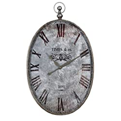 Zinc Decor Pocket Watch Design Oval Brushed Aluminum Wall Clock 35