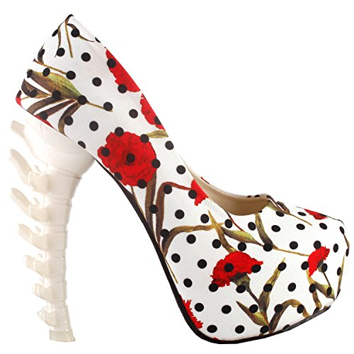SHOW STORY New Bone High Heel Platform Bone Heels Shoes,LF80610JW38,7US,White Floral Polka Dots (Adult White Shoes Jane)