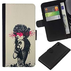 Protector de cuero de la PU de la cubierta del estilo de la carpeta del tirón BY RAYDREAMMM - Sony Xperia Z2 D6502 - Tatuaje de Rusia Sexy Girl - Pin Up