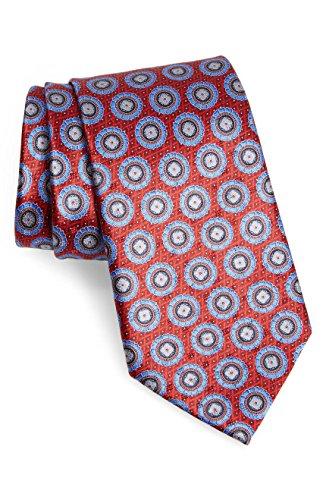 - Ermenegildo Zegna Red Medallion Pattern Silk Tie
