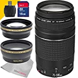 Canon EF 75-300mm f/4-5.6 III Lens with 16Gb SDHC Class 10 Memory Card, Wide Angle Lens, Telephoto Lens and More