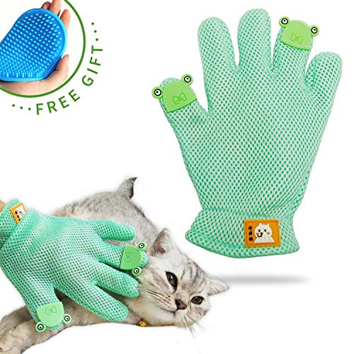 FURBB Pet Grooming Glove – Cat Dog Gentle Deshedding Brush Glove – Efficient Pet Hair Remover Massage Mitt – Enhanced Five Finger Design Perfect for Long Short Fur, Right Hand Pet Bathing