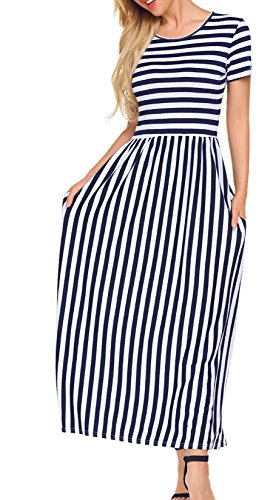Lady Tall Print Dress (SimpleFun Long Maxi Dress for Women Casual (M, 2# Striped))
