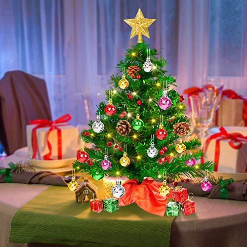 Mini Sapin de Noël,50 cm Petit Sapin de Noël Artificiel avec Lumières LED Transparentes, Arbres et Ornements, Idéal pour Décorer vos Décorations de Noël