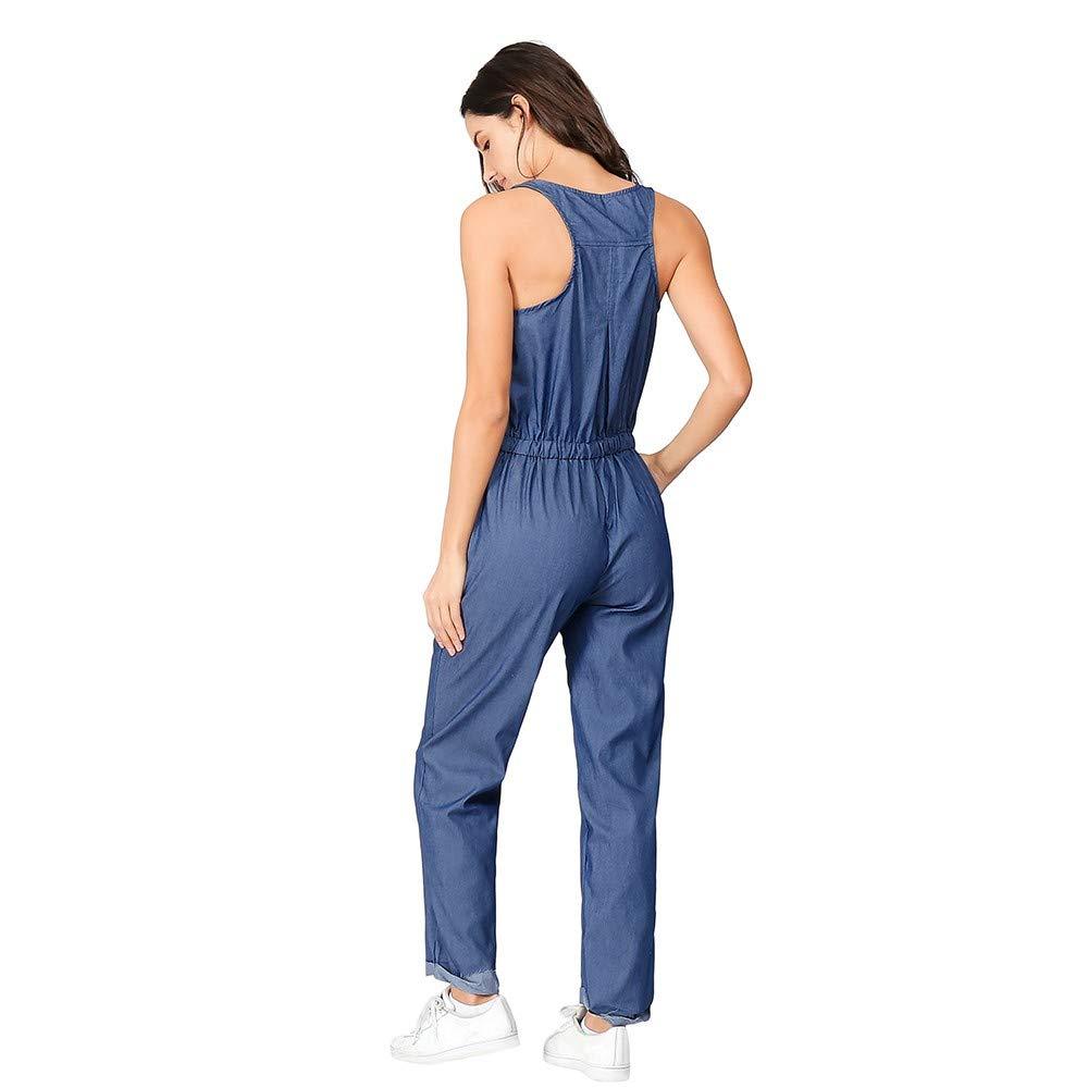 4849e3ada35e Amazon.com  Dreamyth-Summer Womens Holiday Playsuit Blue Jeans Demin Elastic  Waist Strappy Long Beach Jumpsuit  Sports   Outdoors