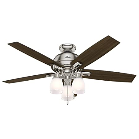 Hunter Fan Company 53338 Hunter 52 Donegan Brushed Nickel Ceiling Fan with Light White