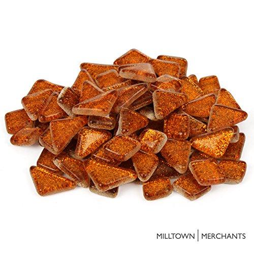 Milltown MerchantsTM Orange Glitter Mosaic Tile Pieces - Bulk Sparkle Mosaic Tiles - 1 Pound (16 oz) Shimmer Tile Assortment For Backsplash, Murals, Stepping Stones, and Mosaics