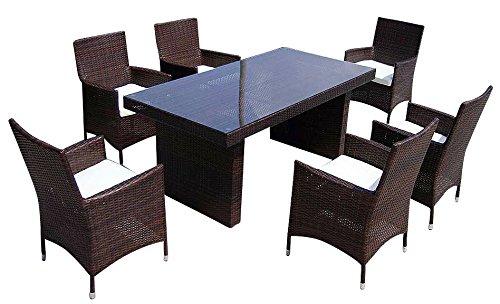 Baidani Gartenmöbel-Sets 10c00035.00001 Designer Rattan Sitz-Garnitur Elegancy, 1 Tisch mit Glasplatte, 6 Stühle mit Armlehnen und Sitzauflage, schwarz