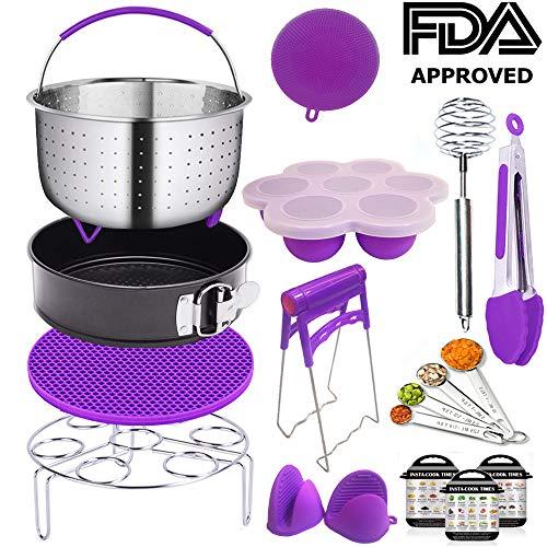 Pressure Cooker Accessories, Steamer Basket for Instant Pot Accessories, Vegetable Steamer Pot Rack Accessories Set Compatible Fits Instant Pot 6,8 Qt - 12 Packs (Purple)