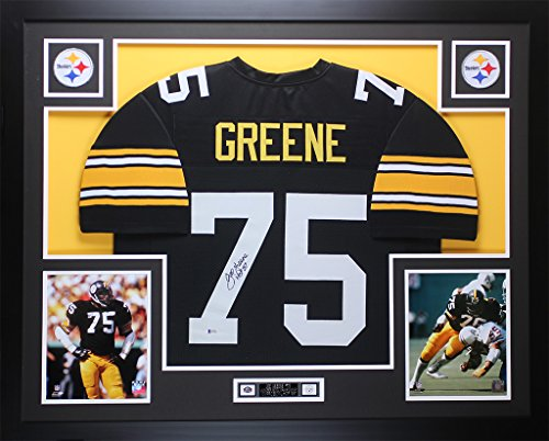 Signed Framed Steelers Jersey (Joe Greene Autographed Black Steelers Jersey - Beautifully Matted and Framed - Hand Signed By Joe Greene and Certified Authentic by Beckett COA - Includes Certificate of Authenticity)