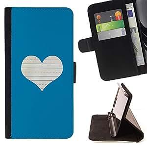 For Apple iPhone SE / iPhone 5 / iPhone 5S Case , Corazón del amor Notebook Blanca- la tarjeta de Crédito Slots PU Funda de cuero Monedero caso cubierta de piel