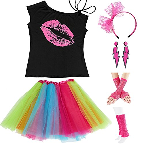 Women's Lipstick Lips Tank Top with Tutu and Accessories