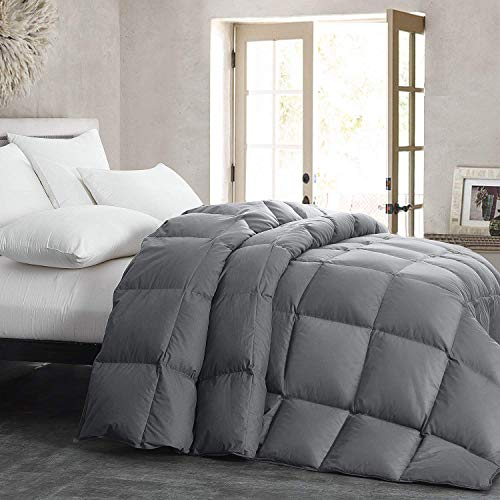 HOMBYS Luxurious Lightweight Goose Down Comforter Queen Size Duvet Insert Feather and Down Comforter 1000 TC SQ DM Hypoallergenic All Seasons 100% Cotton Cover Down Proof with Corner Tabs(Queen,Grey)