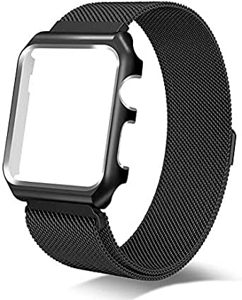 Milanese Loop Stainless Steel Strap with Magnetic Clasp for Apple Watch 42mm Series 3,2,1 - Black