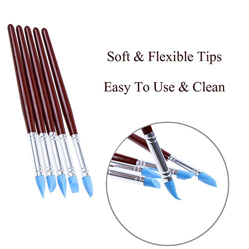 Ejiubas 14 Pcs Clay Sculpting Tools Set 10Pcs Modeling Clay Rubber Brushes Silicone Sculpting with 4 Pcs Polymer Clay Balls Tools Double Ended Dotting Tool Kit