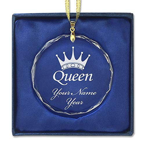 LaserGram Christmas Ornament, Queen Crown, Personalized Engraving Included (Round Shape) (Crown Ornament)