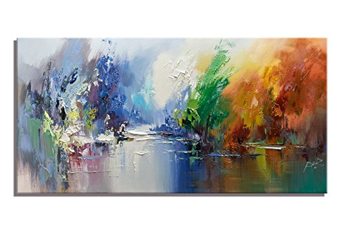 Canvas Wall Art Abstract Trees over the Lake Scenery Landscape Painting Prints on Canvas for Living Room Decoration Artwork Modern Oil Painting (16x32 (Masterpiece Magazine Rack)