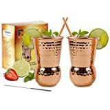 Eximius Power Moscow Mule Copper Mugs - Copper Tumbler Cups 100% pure copper glass for mule recipe cocktail beverages drinks for men, Handcrafted, 16oz, Set Of 2,20 Gauge Hammered design in a Gift Box