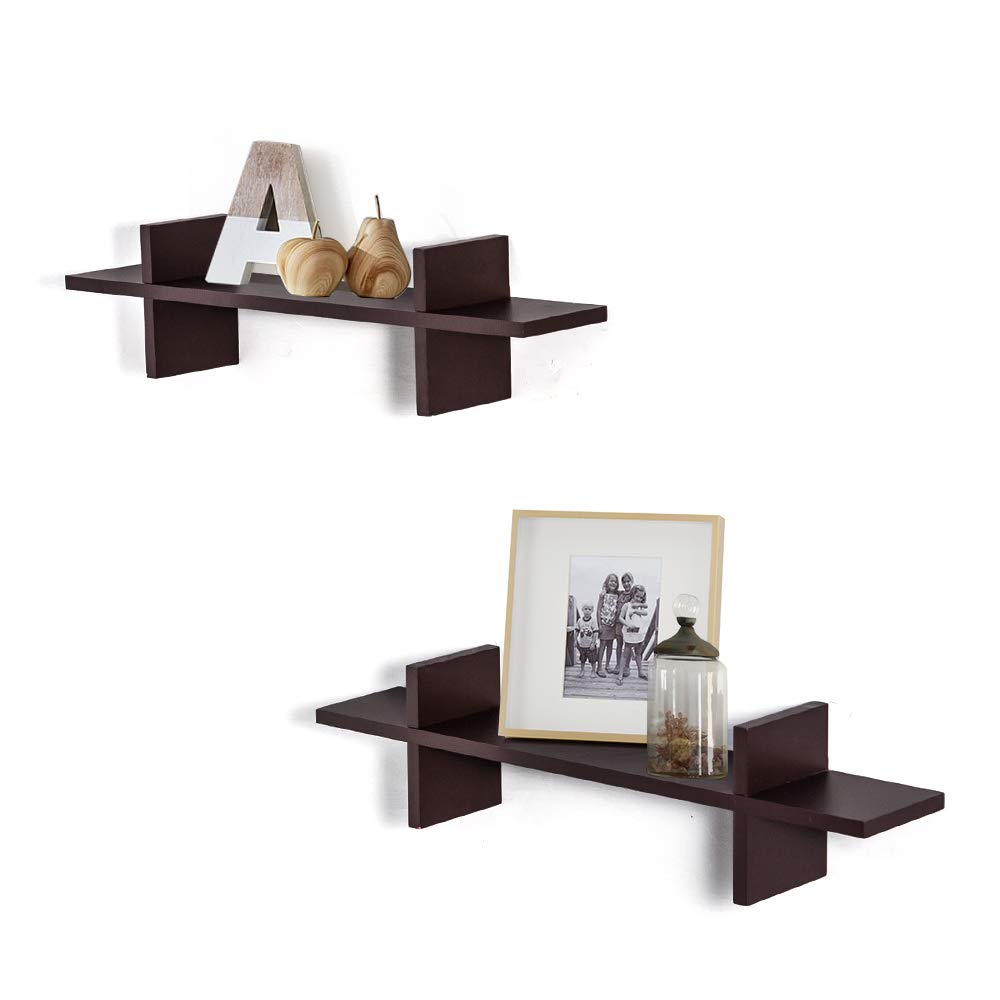 AHDECOR Decorative H Shaped Floating Shelves Wall Mounted Ledge Display Storage Set of 2 pcs (Brown)