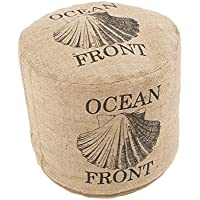 Jaipur Coastal Pattern Taupe/Black Jute Pouf, 18-Inch x 18-Inch x 16-Inch, Incense Shell