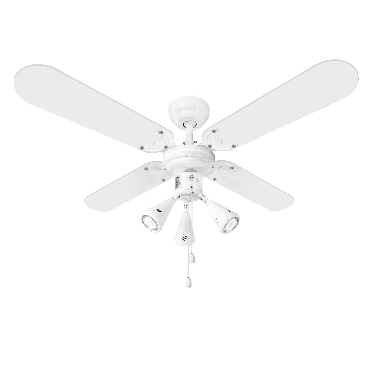 LE 102cm/42' Ceiling Fan with 4 Wooden Blades and 3 GU10 Light Bulb Base Reversible 50W Ceiling Fan for Winter and Summer Use 3 * 50W Max Lighting Bulbs Not Included Lighting EVER 7400003-EU