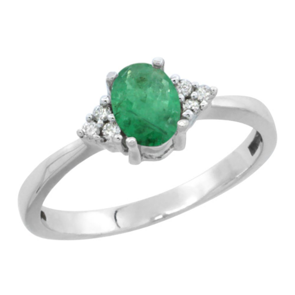 10K White Gold Natural Emerald Ring Oval 6x4mm Diamond Accent, size 7