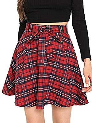 Milumia Women Plaid Mini Skater A line Skirt Belted Zipper Pleated Business Casual Dress