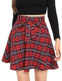 Women Plaid Mini Skater A line Skirt Belted Zipper Pleated Business Casual Dress