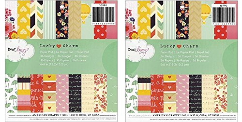 Cute 6x6 inch Patterned Paper Pad for Crafting with 36 Dear Lizzy Lucky Charm Designs by American Crafts. Ideal for Cardmaking (2 Pack)