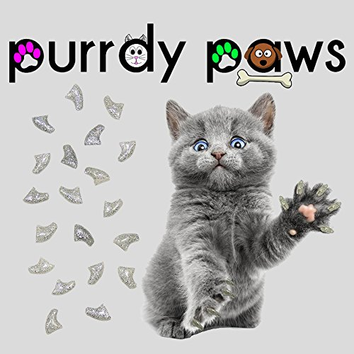 Purrdy Paws 40-Pack Soft Nail Caps for Cat Claws Silver Glitter Kitten