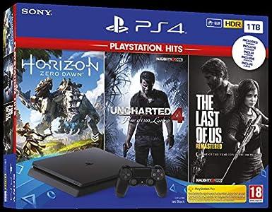 Sony PS4 1TB + Horizon Zero Dawn + The Last of Us + Uncharted 4 Negro 1000 GB Wifi - Videoconsolas (PlayStation 4, Negro, 8192 MB, GDDR5, GDDR5, AMD Jaguar): Amazon.es: Videojuegos