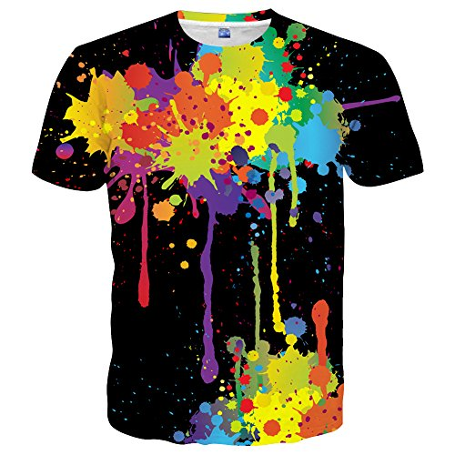 Yasswete Unisex Short Sleeve Fashion T-Shirts Novelty 3D Printed Graphic Top Tees Size XL -