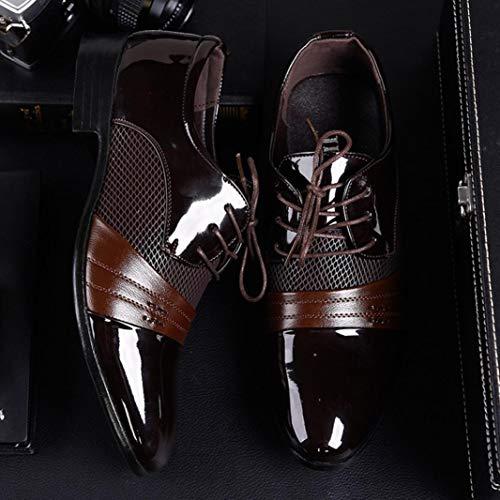 Marrón Zapatos 38 Modernos 2018 y de Logobeing Boda de con Zapatos Cordones Forrados Hombre Cordones Vestir En Zapatos Oxford 47 Piel Zapatos xRwqCU
