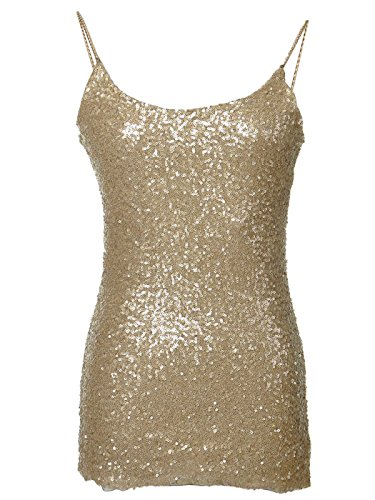 Anna - Kaci Womens Glitzy All Over Sequin Chain Straps Slim Spaghetti Tank Top, Gold, Small (Gold Glitter Shirt)