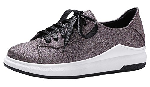 Summerwhisper Womens Casual Round Toe Low Top Lace up Flats Platform Skate Sneakers Purple ZkMISxhF