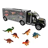 Zmoon Dinosaur Transport Carrier Truck Toy, Truck Toy with 6 Mini Plastic Dinosaurs Educational Dinosaur Truck Toy for Kids