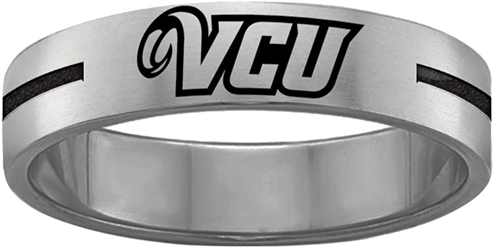 College Jewelry Quad Logo Virginia Commonwealth Rams Rings Stainless Steel 8MM Wide Ring Band