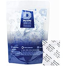 "5 Gram Pack of 50 ""Dry & Dry"" Premium Pure & Safe Silica Gel Packets Desiccant Dehumidifiers - Rechargeable Paper(FDA Compliant)"